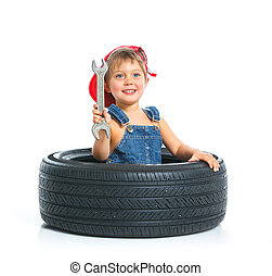 Little mechanic with a tire - Cute little mechanic with a...