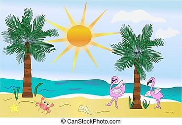 Beach Scene with Flamingoes