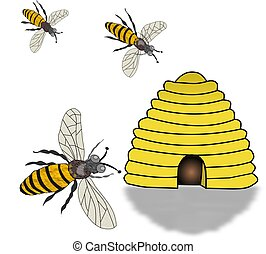 Bee Hive and Swarming Bees - Illustration of a bee hive and...