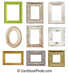 Collection of Distressed Picture Frames - Collection of...