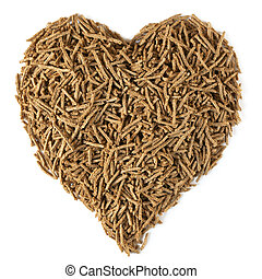 Dietary Fiber for Heart Health - Bran in a heart shape,...
