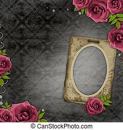 frame on vintage background