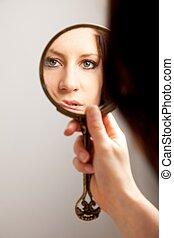 鏡, 女性, クローズアップ, 反射, 顔