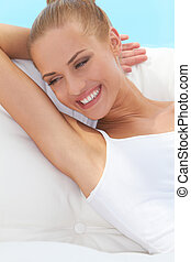Happy confident beautiful woman smiling broadly and looking...