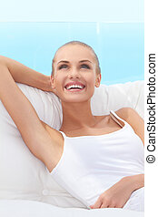 Happy confident beautiful woman - Adorable woman smiling...