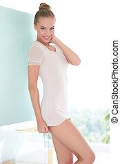 Beautiful sensual woman in very short miniskirt posing...