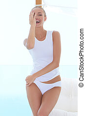 Playful model having a good laugh - Natural portrait of a...