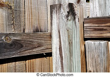 Weathered Wooden Fence - Old weathered wooden backyard fence...