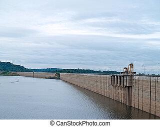 Khun Dan Prakan Chon Dam - Backside of Khun Dan Prakan Chon...