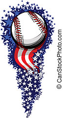 Baseball Firework with Flags and Stars - Stars and Stripes...