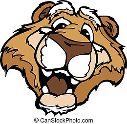 Smiling Cartoon Mountain Lion or Cougar Mascot Vector...