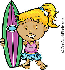 Kid Surfer Girl Holding Surfboard Vector Image - Girl...