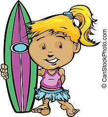 Kid Surfer Girl Holding Surfboard Vector Image - Girl...