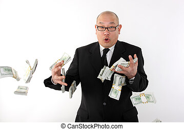 Losing money - Businessman losing bundles of money.
