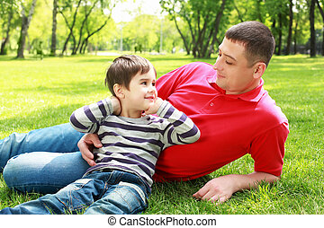 Father with his son in the park - Father with his son in the...