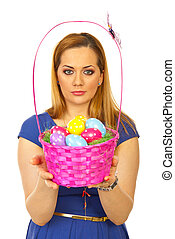 Beautiful easter woman with colorful basket - Beautiful...