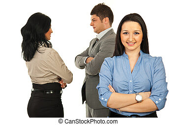 Young business woman and her team - Young business woman...