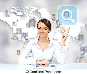 Business person against technology background