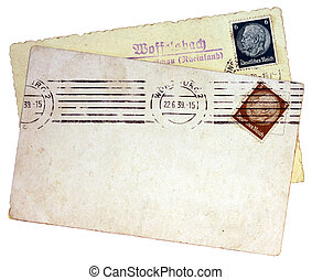 Hindenburg Stamps - GERMANY - CIRCA 1939: set of two stamps...