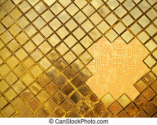 Golden background - Golden mosaic wall with chinese letters...