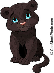 Black panther cub - Cute black panther cub