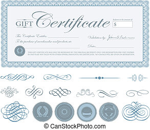 Vector Blue Certificate Border and Ornaments