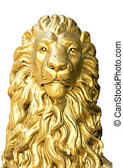 stone lion  - golden stone lion on white background