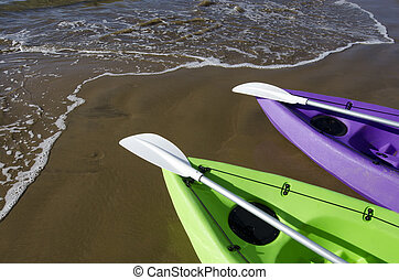 Sea Sport - Canoe and Kayaks - Couple of green and purple...