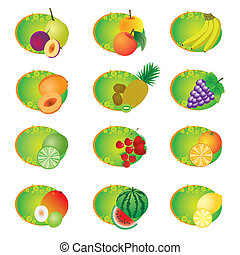 Set of icons with fruits.
