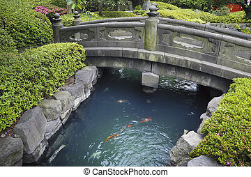 Zen garden - scenic stone bridge over blue water with red...