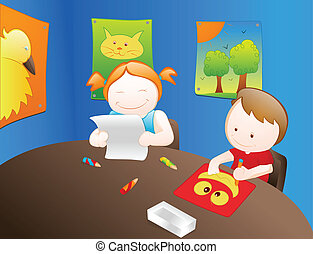 Cartoon Kids Reading