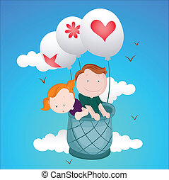 Kids Flying on Air Balloon - Conceptual Design Art of Kids...