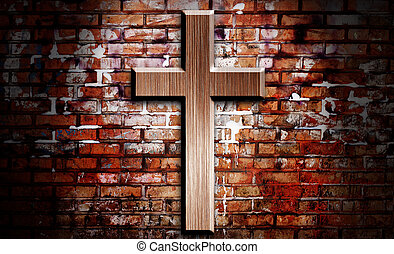 Wooden crucifix on the brick wall lighting by spotlight
