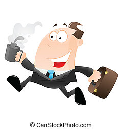 Cartoon Businessman Running - Conceptual Art Design of...
