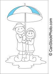 Art of Cartoon Couple in Rain