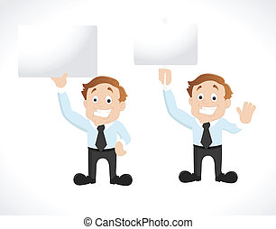 Businessman with Blank Signboard - Creative Art Design of...