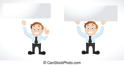 Businessman with Blank Banner - Conceptual Design Art of...