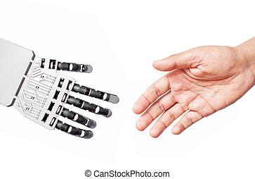 Robot and man handshake - Robot hand and man coming together...