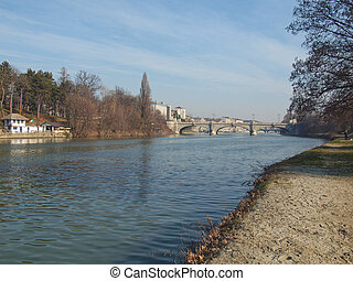 River Po, Turin, Italy - View of river Po, Turin, Italy