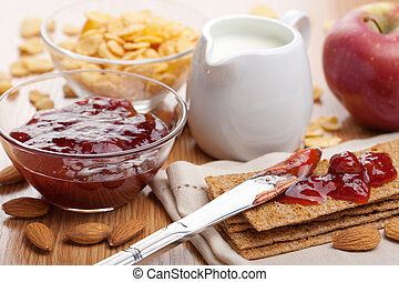 crisp bread with jam for breakfast