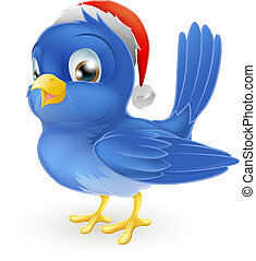 Blue bird in Santa Claus hat - A cartoon blue bird in...