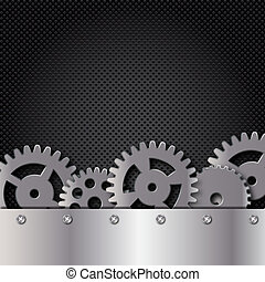 Abstract metal and glass background with frame and gears...