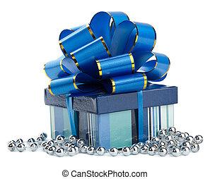 azul, PRESENTE, caixa, isolted