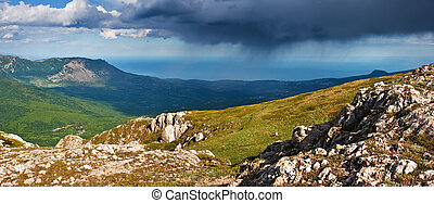 rain clouds - Landscape with mountains and storm clouds
