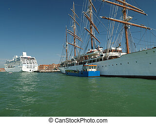 Venice - passenger sailing boat moored at the berth
