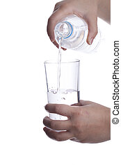 Pouring water into glass