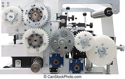 Machine parts - Gear wheels of a printing machine, isolated...