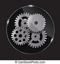 Repairing glass button, vector illustration