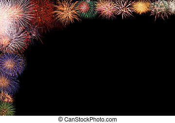 Colorful fireworks half frame