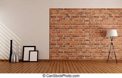 Empty room with brick wall - Empty room with old brick wall...